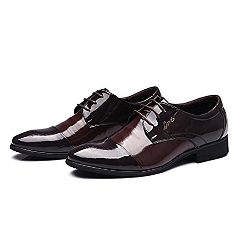 Blivener Mens Tuxedo Oxfords Lace up Dress Shoes Pointed Toe Brown PPyf1bSJ