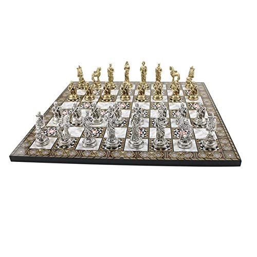 CHESSLANDTR Historical Troy Figures Metal Chess Set for Adult and Kids Handmade Elegant Pieces and Mother-of-Mother Pearl Wood Design Chessboard King 2.65