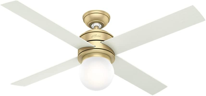 Hunter Indoor Ceiling Fan with LED Light and wall control – Hepburn 52 inch, Modern Brass, 59320