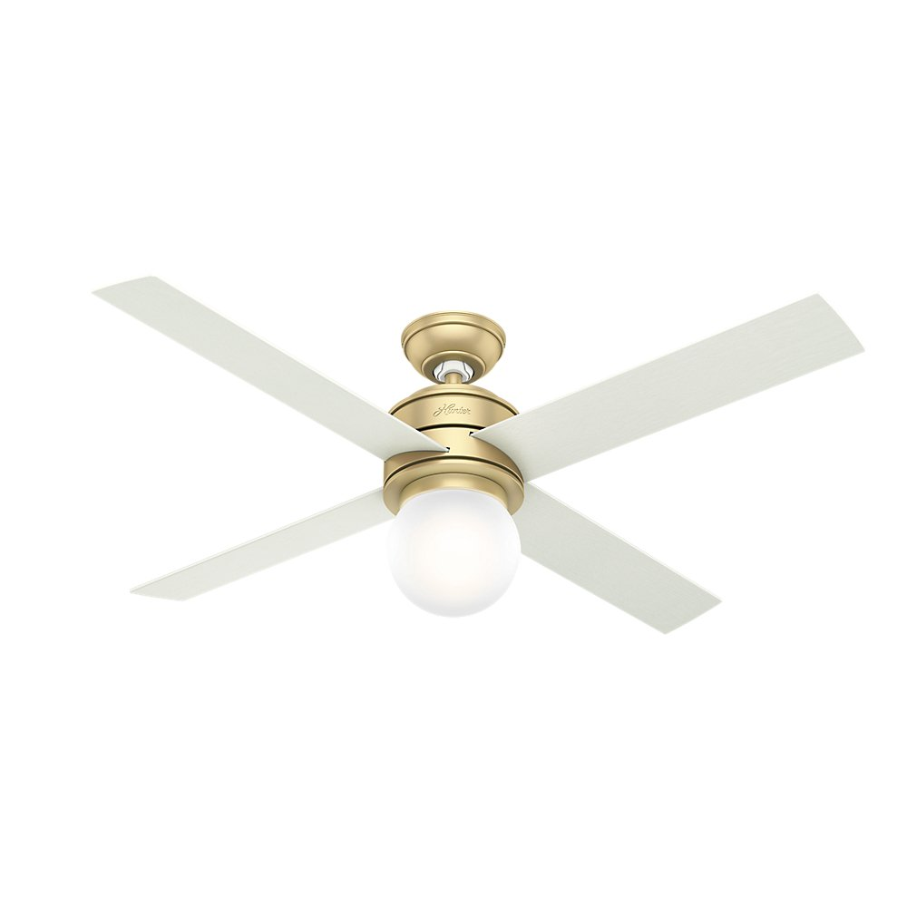 Hunter Indoor Ceiling Fan with LED Light and wall control - Hepburn 52 inch, Modern Brass, 59320