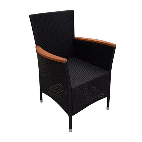 Festnight 9 Piece Outdoor Patio Rattan Wicker Furniture Dining Table Chair Set Black - The dining table is made of high-quality acacia wood, a tropical hardwood, which is weather-resistant and highly durable. Therefore, it is extremely suitable for outdoor use. The dining chairs feature acacia wood armrests. Made of waterproof PE rattan, the dining chairs are lightweight and easy to clean. The powder-coated steel frames and the aluminum feet make the chairs strong and sturdy. - patio-furniture, dining-sets-patio-funiture, patio - 41GO7y5Lt1L. SS570  -
