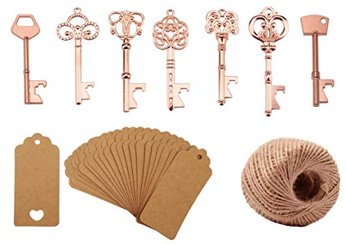 Skeleton Key Bottle Opener with Escort Tag Card and Twine for Wedding Favors for Guests Party Favors (mixed 7 styles Rose Gold) ()