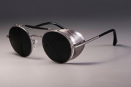 Amazon.com   Retro Round Metal Sunglasses Steampunk Iron Man Women ... 3bd4dcf979