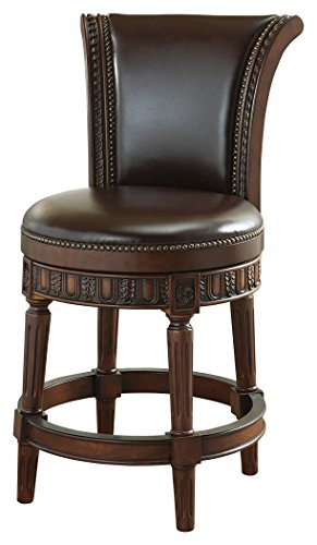 Signature Design by Ashley D553-224 Barstools, Sleigh Back Counter Height, Dark (Upholstered Sleigh Back Chairs)