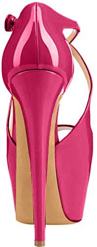Trusify Mujer 16cm EU tamaño 34-46 Trucrack Tacón de aguja 16CM Sintético Sandalias de vestir Rojo Peach