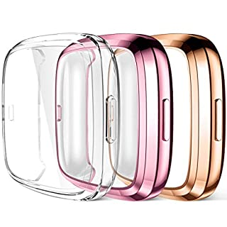 Maledan Compatible with Fitbit Versa 2 Screen Protector Case, Ultra Thin Full Protective Case Cover for Fitbit Versa 2 Smartwatch Bands Accessories, 3 Pack Clear/Rose Pink/Rose Gold