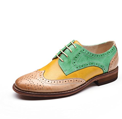 U-lite Green Yellow Perforated Brogue Wingtip Leather Flat Oxfords Vintage Oxford Shoes Women GY 6.5 by U-lite