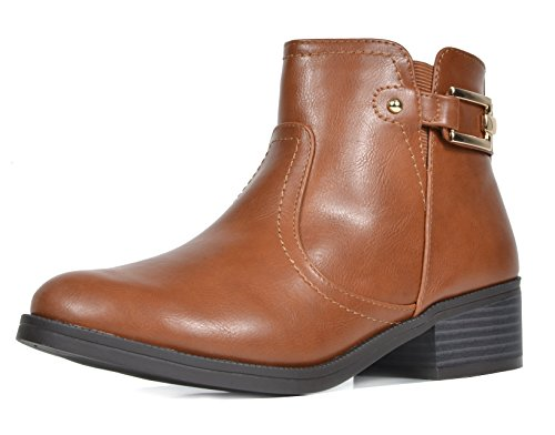Riding Heel - TOETOS Women's Alexis-03 Tan Pu Fashion Low Stacked Heel Ankle Riding Booties Size 9 M US