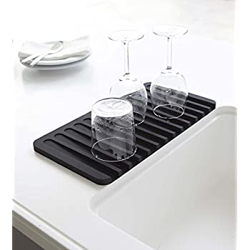 Talented Kitchen Self Draining Silicone Drying Mat. 15 x 8 Inches Dish and Glassware Sloped Board Silicone Tray in Black. Anti-Bacterial, Dish Washer Safe. Heat Resistant Trivet