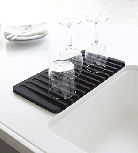 Talented Kitchen Self Draining Silicone Drying Mat. 15 x 8 Inches Dish and Glassware Sloped Board Silicone Tray in Black. Anti-Bacterial, Dish Washer Safe. Heat Resistant (Draining Tray)