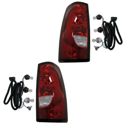 2004-2005-2006-2007 Chevrolet/Chevy Silverado 1500 2500 3500 Full Size Pickup Truck (Fleetside Models Except 3500 Dually) Taillight Taillamp Rear Brake Tail Light Lamp (with dark trim) Pair Set Left Driver And Right Passenger Side (04 05 06 07)