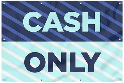 Cash Only 12x8 CGSignLab Stripes Blue Wind-Resistant Outdoor Mesh Vinyl Banner