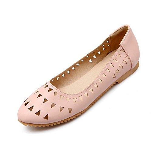 Chfso Femmes Casual Évider Bout Rond Appartements En Caoutchouc Pompes Chaussures Rose