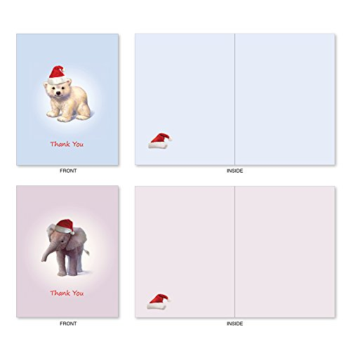 M6726XTB Christmas Zoo Babies: 10 Assorted Blank Christmas Thank You Note Cards Featuring Sweet and Adorable Baby Zoo Animals, w/White Envelopes. Photo #3