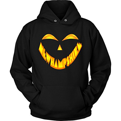 New Hampshire Jack O' Lantern Pumpkin Face Halloween Costume Hoodie, 3XL