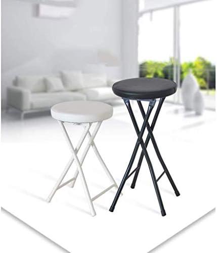 Mlzaq Rembourrée Chaise haute pliante ronde Petit déjeuner Cuisine Tabouret de bar Mobilier compact Chaise haute (Size : White-49cm)