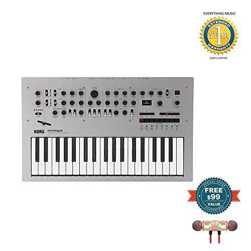 Korg Minilogue 4-Voice Polyphonic Analog Synthesizer includes Free Wireless Earbuds – Stereo Bluetooth In-ear and 1 Year Everything Music Extended Warranty