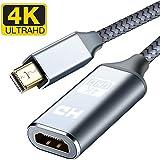 Mini DisplayPort to HDMI Adapter, Capshi 4K Thunderbolt to HDMI Converter [ Smart, Nylon Braided, Aluminum Shell ] Compatible MacBook Air, iMac, MacBook Pro,Surface Dock, Monitor, Projector- Grey