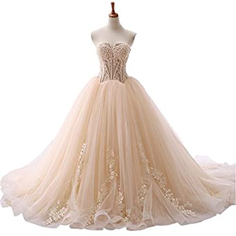 Mollybridal Tulle Ball Gown Applique V Neck Wedding Dresses for Bride Court Train Cheap Champagne 2