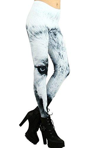 World of Leggings Black and White Wolf - Animal Leg Sexy Print
