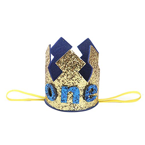 NUWFOR 1PC Boy Head Accessories Hairband Baby Elastic Brithday Number Crown Headwear(Gold,4)