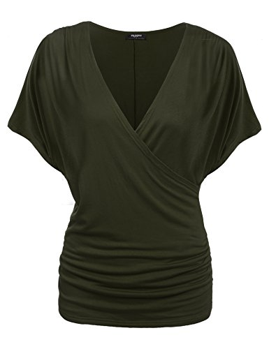 Front Ruched Blouse - Zeagoo Women's Cross-front V Neck Ruched Cap Sleeve Blouse Army Green Medium
