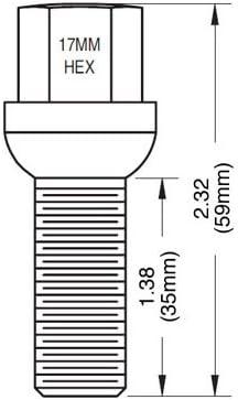 20 Pcs Lug Bolts Ball Seat 14x1.5 Thread 35mm Shank