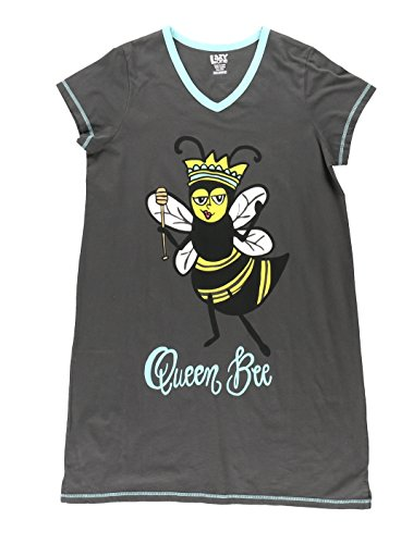 Queen Bee Women's Animal Pajama Nightshirt by LazyOne | Cute Animal Nightgowns for Ladies (Queen Sleepshirt)