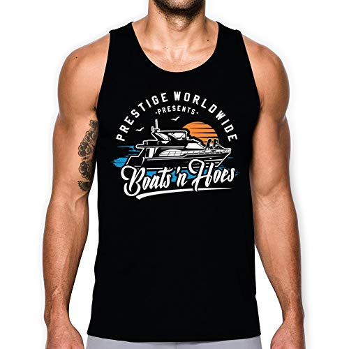 Daft Threads ~ Boat's N Hoe's Tank Top Shirt Step and Brothers with Sticker (Black 2X) (Step Brothers Boats N Hoes T Shirt)