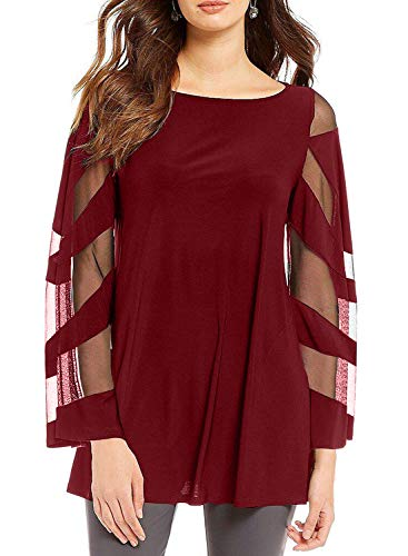 (BLENCOT Womens Plus Size Long Bell Sleeve Boat Neck Patchwork Chiffon Blouse Shirt Casual Loose Tunics Red 2XL)