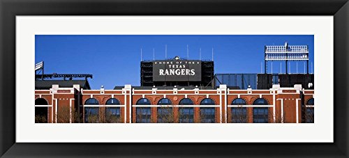 Rangers Ballpark, Dallas, Texas by Panoramic Images Framed Art Print Wall Picture, Black Flat Frame, 42 x 19 inches -