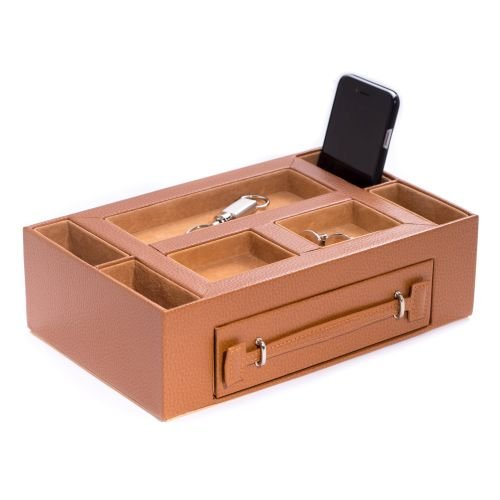 Leather Valet Box with Pen & Watch Drawer - Leather - 11W x 3H in. by Bey-Berk