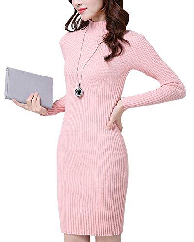 Mujer Sueter de Punto Vestidos de Manga Larga Cuello Vuelto Delgado Jersey Largo Pink