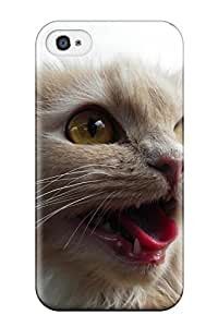 AnnaSanders Iphone 4/4s Well-designed Hard Case Cover Screaming Cat Scared Close Up Felines Animal Cat Protector wangjiang maoyi