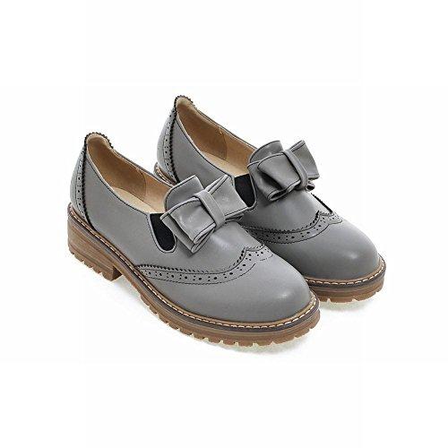 Mee Shoes Damen mit Schleife runde Niedrig chunky heels Pumps Grau