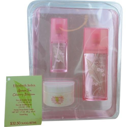 Green Tea Cherry Blossom Set - Edt Spray 1.7 Oz/Honey Drops Body Cream 1.7 Oz/Edt Spray .5 Oz
