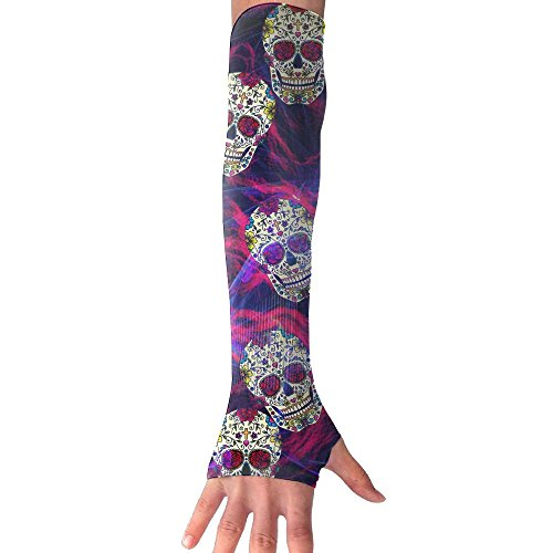 Anti Cupid Costume (DIA DE LOS MUERTOS SKULLS Anti-UV Cuff Sunscreen Glove Outdoor Driving Half Refers Model Arm Sleeve For Riding Bicycles Fishing Running Climbing Unisex)
