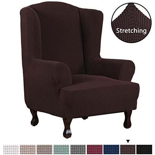 H.VERSAILTEX High Stretch Modern Spandex Sofa Cover/Wing Chair Slipcover 1 Piece Wing Back Arm Chair Furniture Cover Slipcover, Machine Washable Lycra Jacquard Fabric Stay in Place, Chocolate