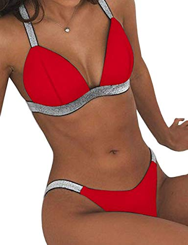 ANASABI Women's Red Cup Bikini Set Push Up Top Cheeky Thong Bottom M