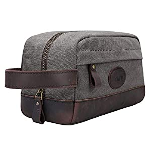 S-ZONE Vintage Leather Canvas Toiletry Bag Shaving Dopp Case Makeup Bag