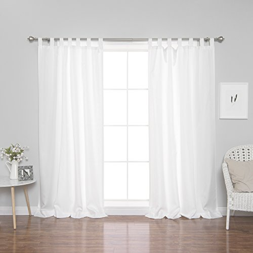 Best Home Fashion Oxford Tab Top Curtains - Tab Top Hanging Style - White - 52
