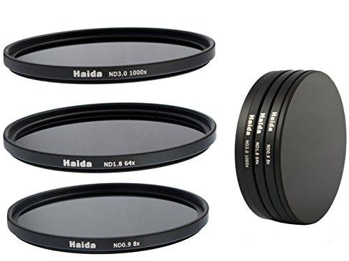Neutral Graufilter Set bestehend aus ND8, ND64, ND1000 Filtern 58mm inkl. Stack Cap Filtercontainer + Pro Lens Cap mit Innengriff