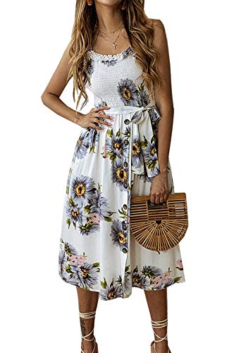 (PRETTYGARDEN Women's Summer Sunflower Boho Spaghetti Strap Semi-Backless Button Down Swing A-Line Midi Dress with Belt and Pockets)