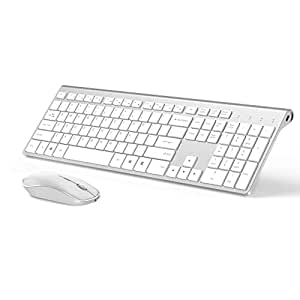 Wireless Keyboard and Mouse Combo, Stylish Compact Full-Size Keyboard and 2400 DPI Stream-line Optical Mouse for PC, Notebook, Laptop, by JOYACCESS-Silver