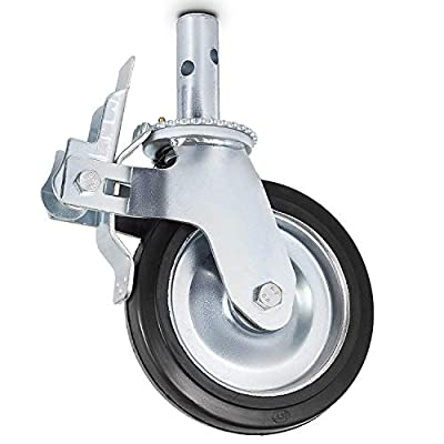 BestEquip Caster Wheels Swivel Stem Casters Black Polyurethane Heavy Duty Casters Iron Core Scaffolding Casters for Warehousing and Industrial Equipment