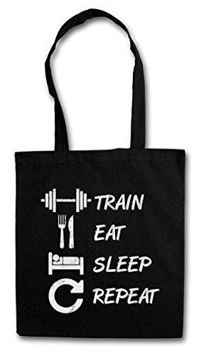 Train Eat Sleep Repeat Hipster Bag Beutel Stofftasche Einkaufstasche