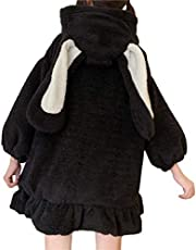 Women Cute Bunny Ear Long Sleeve Fuzzy Fluffy Rabbit Tops Sweatshirt Hoodie Jacket Coats