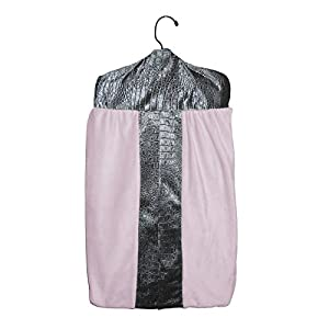 Baby Doll Bedding Croco Minky Diaper Stacker, Grey/Pink
