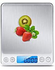 TSEC Kitchen Scale Premium Healthy Digital Pocket Food Scale Jewelry Scale Durable Premium Stainless Steel Platform with 2 Transparent Trays Weighing Range 0.1g-3,000g 6 Measurement Units - Silver