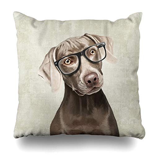 Ahawoso Throw Pillow Cover Square 18x18 Inches Weimaraner Cute Dogs Decorative Pillow Case Home Decor Pillowcase